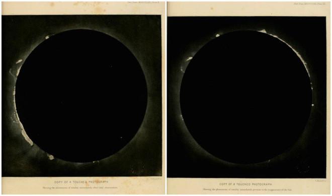 Hai bức ảnh của về hiện tượng nhật thực toàn phần chụp ngày 18/7/1860 tại Rivabellosa