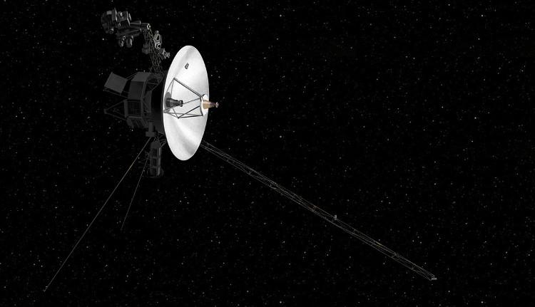 Phác họa hình ảnh Voyager 2 trải qua hành trình vô tận dài trong vũ trụ.
