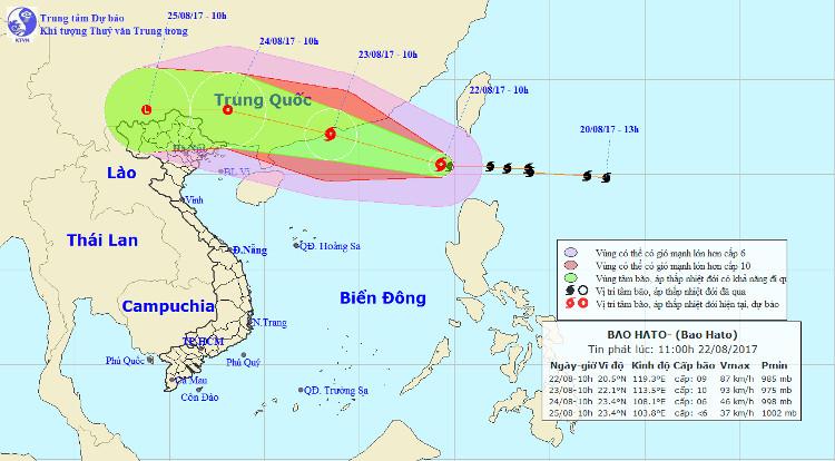 Bão số 6 được dự báo đi vào đất liền Trung Quốc.