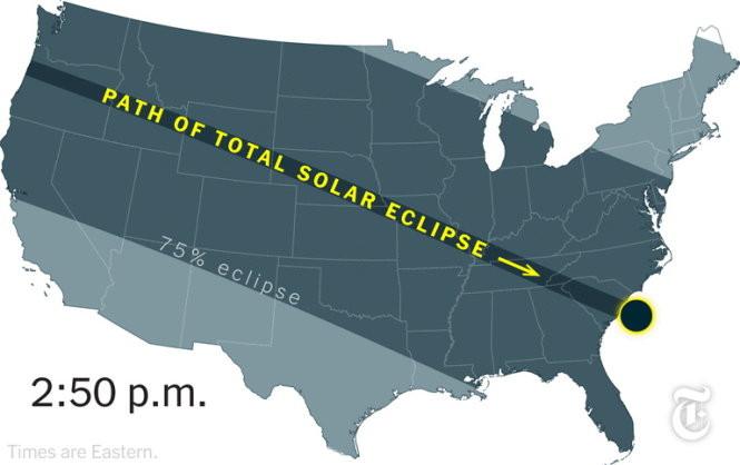 Hành trình của nhật thực trên nước Mỹ