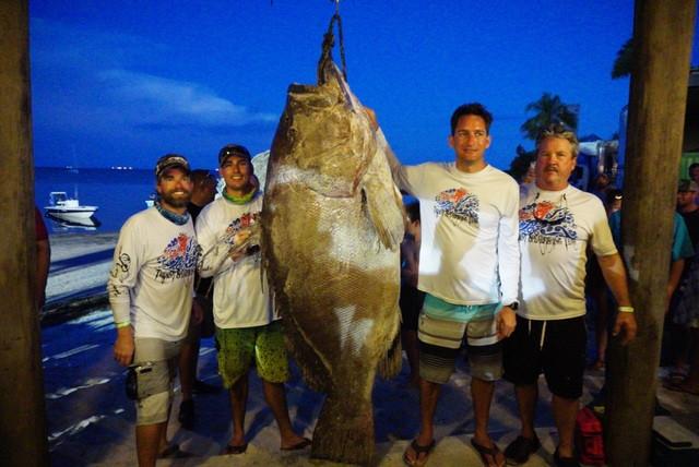 Con cá mú đen nặng 185kg vừa bắt được ở Mỹ.