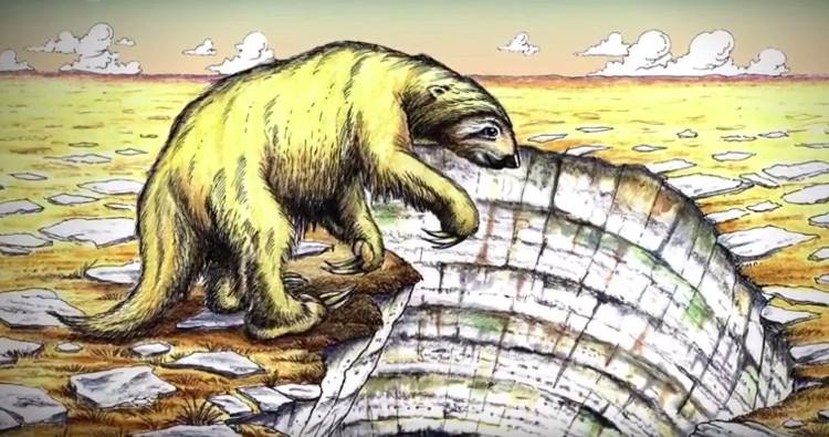 Hình vẽ một con lười khổng lồ.