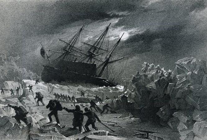 Minh họa một trong 2 con tàu bị kẹt giữa băng.
