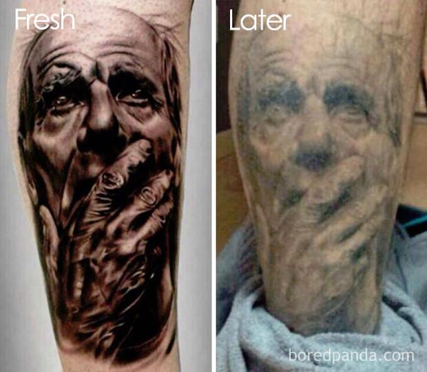 Cá nhân người viết cho rằng hình xăm bên phải thể hiện rất xuất sắc sự già nua của nhân vật được xăm