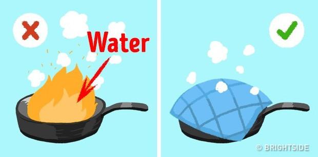Dùng 1 tấm vải cotton lớn hoặc dùng hỗn hợp muối ăn, nước, muối amoniac để dập lửa.