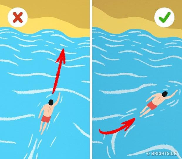 Đừng bơi thẳng vào bờ mà hãy bơi theo đường chéo hoặc song song với bờ để thoát khỏi dòng nước.
