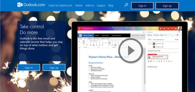 Outlook.com cung cấp tài khoản email miễn phí.