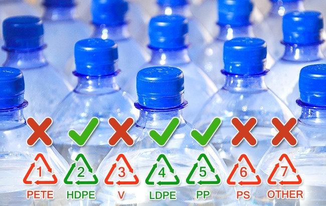 Những chai nhựa được làm từ polyethylene (số 2 và 4), và polypropylene (5 và PP) phù hợp cho việc sử dụng nhiều lần