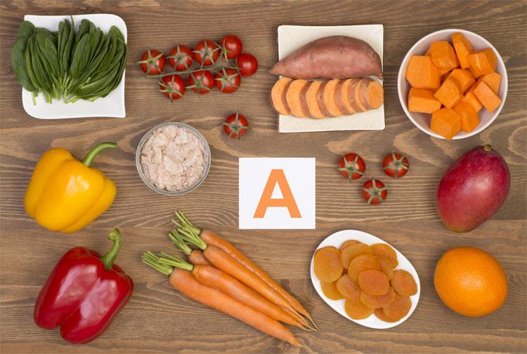 Một số thực phẩm giàu vitamin A.