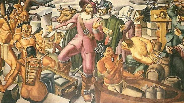 """Bức tranh """"Mr. Pynchon and the Settling of Springfield"""" của họa sĩ Umberto Romano."""