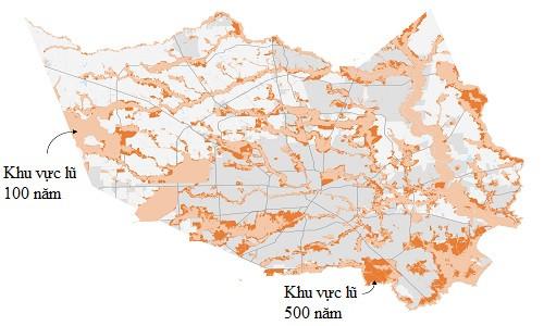 Bản đồ các khu vực lũ của Houston.