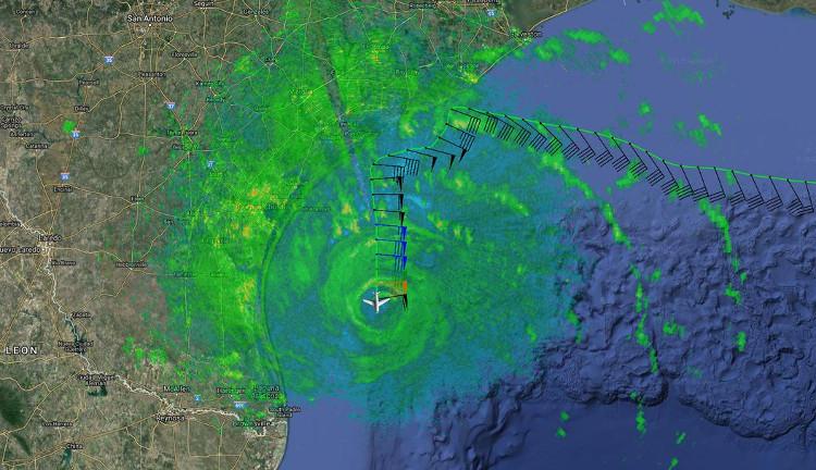 Hình ảnh radar về chuyến bay săn bão ngày 25/8.