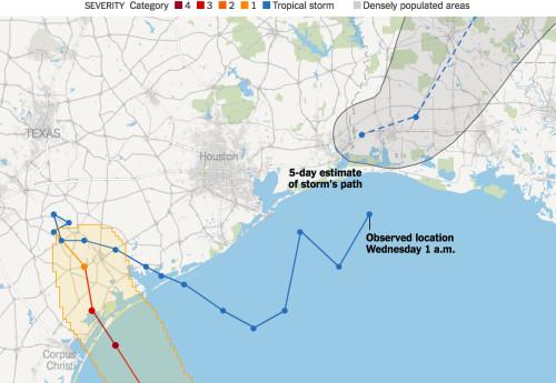 Đường đi của bão Harvey đến 1 giờ sáng 30/8.