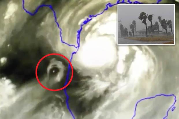 Hình ảnh được cho là vật thể bí ẩn xuất hiện trong siêu bão đổ bộ vào nước Mỹ.