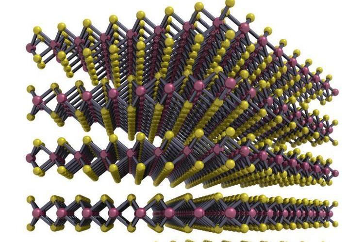 Thiết bị siêu nhỏ làm từ các tấm MoS2 có độ dày 3 micromet.