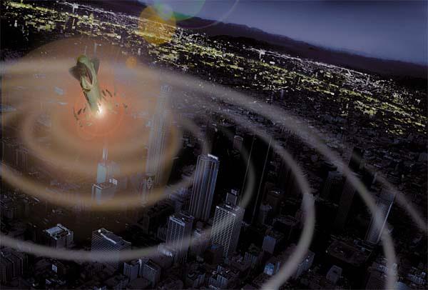 Tranh tưởng tượng về sức tàn phá của bom EMP lên một thành phố.