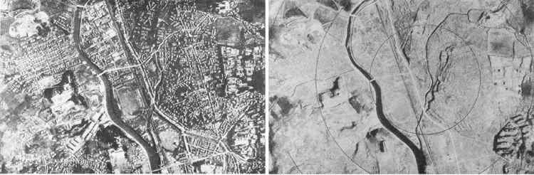 Ảnh chụp từ máy bay Thành phố Hiroshima trước và sau nổ bom nguyên tử vào ngày 6/8/1945.