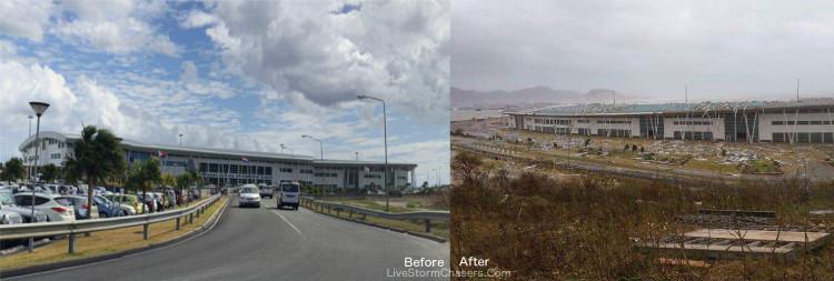 Sân bay Công chúa Juliana trước và sau khi bão quét qua