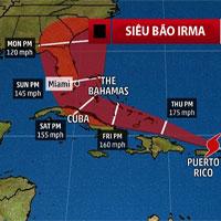 Siêu bão Irma có thời điểm rộng gần 1.300km