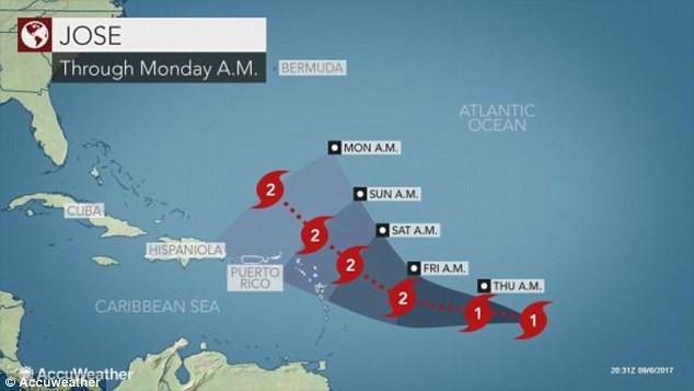 Hướng di chuyển của siêu bão Jose.