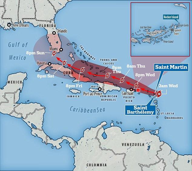 Hướng di chuyển của siêu bão Irma.