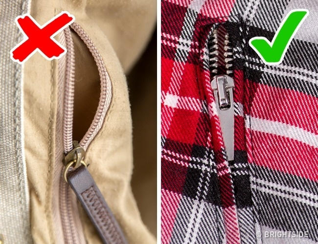 Tránh mua sản phẩm có phần khóa kéo lộ hẳn ra ngoài