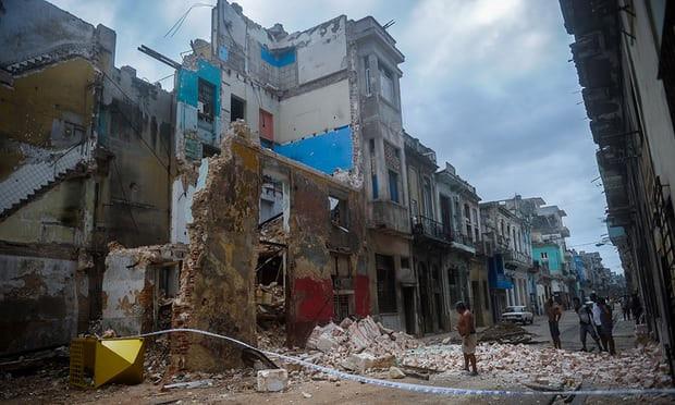 Cảnh tàn phá nhà cửa do bão Irma gây ra ở Cuba trước đó