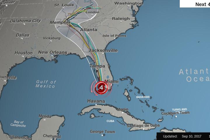 Đồ họa của CNN về đường đi của bão Irma trong 4 ngày tới