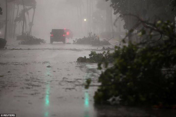 Cành cây rơi vãi do gió lốc trên đường phố Miami vào ngày 10/9