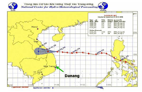 Bản đồ toàn cảnh đường đi của cơn bão.
