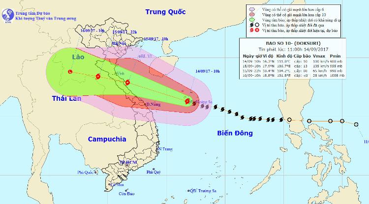 Dự báo trong 24 giờ tới, bão di chuyển theo hướng Tây Tây Bắc