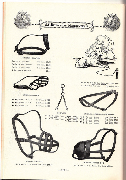 Rọ mõm và dây trói được bày bán bởi công ty J.C.Decker, Inc., Montogomery, Pennylyania năm 1939.