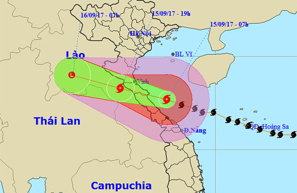 Dự báo đường đi và khu vực ảnh hưởng của bão lúc 8h sáng nay.