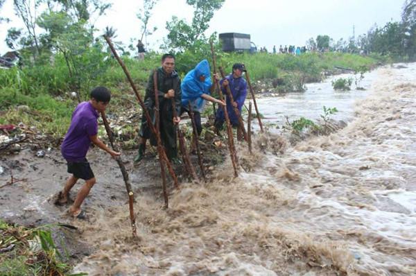 Người dân đang gia cố đê biển tại huyện Quỳnh Lưu (Nghệ An).