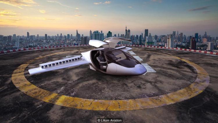 Xe bay Lilium chạy hoàn toàn bằng điện.