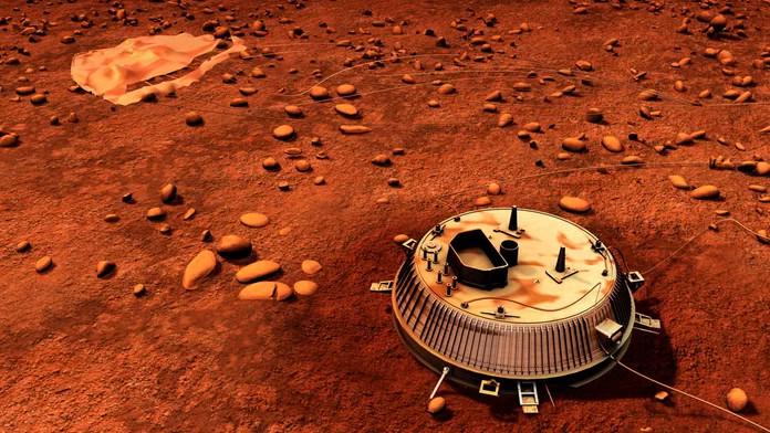 Tàu thám hiểm Huygens đáp xuống mặt trăng Titan vào ngày 14/1/2015.