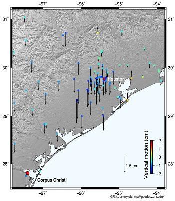Dữ liệu vệ tinh cho thấy vỏ Trái Đất võng xuống hai centimet ở Houston, Texas.