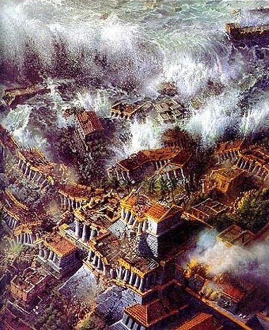 Đảo quốc Atlantis bị phá hủy một phần vì thảm họa tự nhiên.