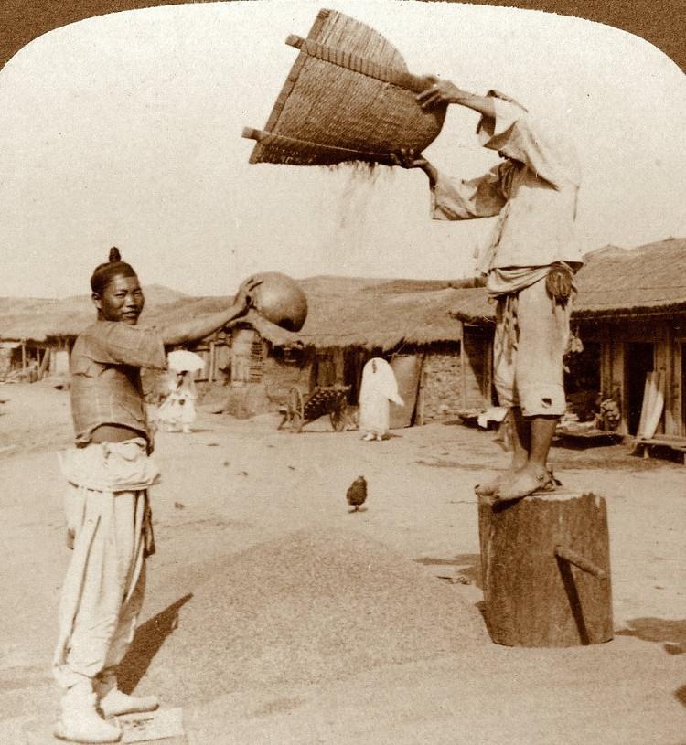 Hai người đàn ông làm việc ở Incheon năm 1903. Họ đang tìm cách tách vỏ trấu.