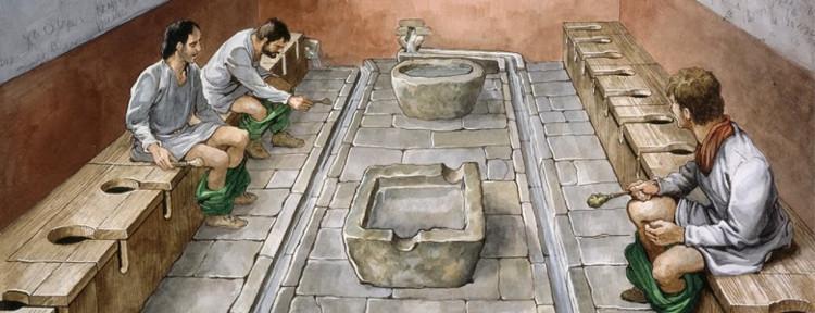 """Người La Mã cổ đại sẽ dùng 1 miếng bọt biển buộc trên đầu một cái que để """"gột rửa"""" sau khi đi WC."""