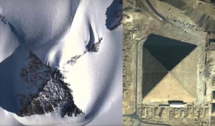 Hình ảnh kim tự tháp ở Nam Cực (trái) và kim tự tháp ở Ai Cập.