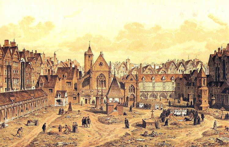 """Các nghĩa trang ở Paris trở nên quái tải vì """"đại dịch cái chết đen""""."""