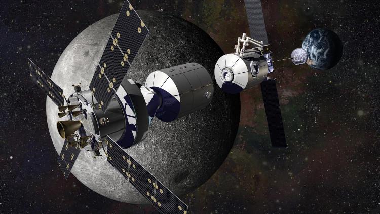 Hình mô phỏng trạm vũ trụ Deep Space Gateway trên quỹ đạo Mặt Trăng.