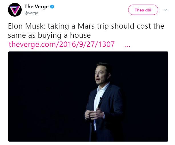 Dòng trạng thái được Theverge.com đăng lại dẫn lời của Elon Musk.