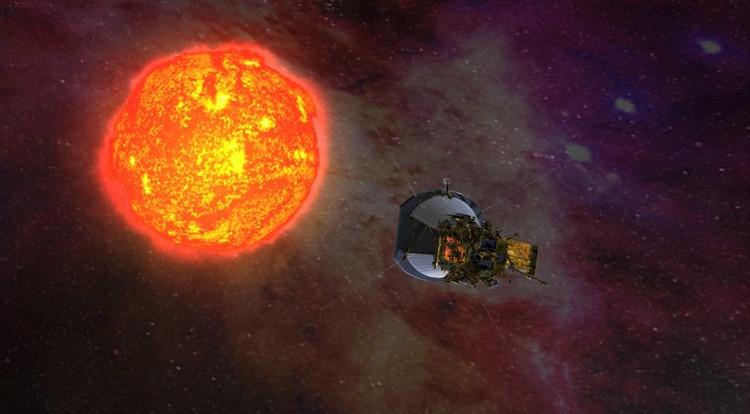 Hình ảnh mô phỏng tàu thăm dò vũ trụ Parker Solar tiến gần đến Mặt trời