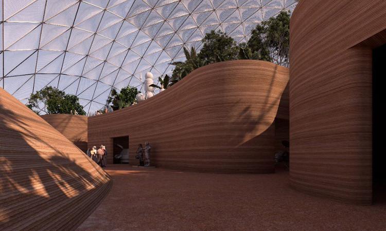 Một góc của thành phố sao Hỏa tương lai đẹp và thiết thực.