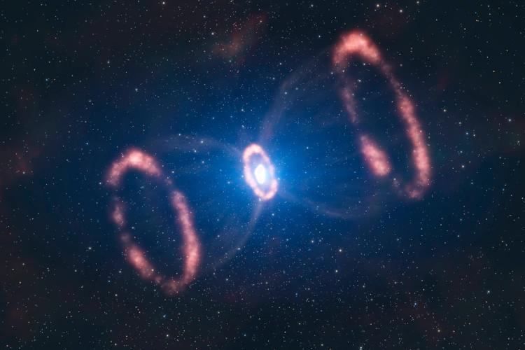 Vật chất bị thổi bay trong một vụ nổ siêu tân tinh.