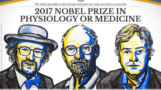 3 nhà khoa học đạt giải Nobel Y sinh 2017.