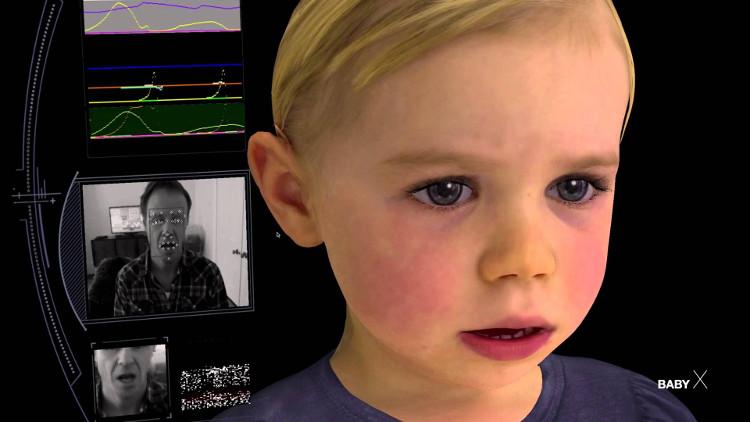 BabyX bao gồm một số lớp mô phỏng xương mặt và cơ mặt.