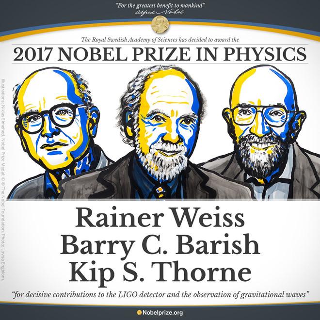 Ba nhà khoa học Rainer Weiss, Barry C. Barish và Kip S. Thorne đã chia nhau giải Nobel Vật lý 2017